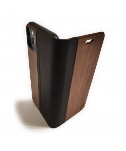 Houten design flip case, iPhone 11 pro max – Noten met zwart leer