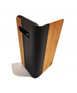 Houten design flip case, Samsung Galaxy S10 – Bamboe met zwart leer