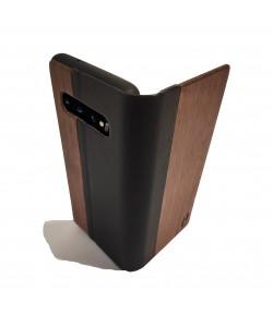 Houten design flip case, Samsung Galaxy S10 – Noten met zwart leer