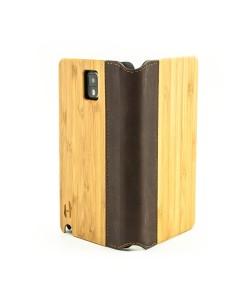 Houten flip case, Samsung Galaxy NOTE 3 – Bamboe en bruin Leer
