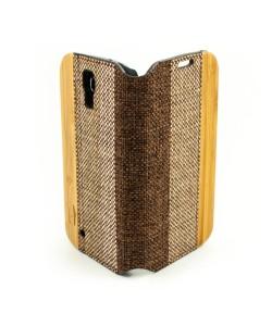 Houten retro-design flip case, Samsung Galaxy S4 – Bamboe met stof