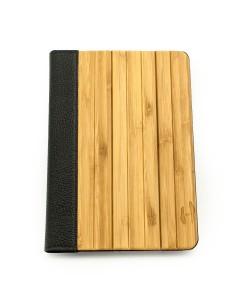 Houten iPad mini bookcase - bamboehout met zwart leer