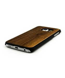 Echt houten hardcase hoesje Samsung Galaxy S6 Edge - donker notenhout