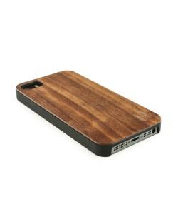 Echt houten hardcase hoesje iPhone SE - donker notenhout