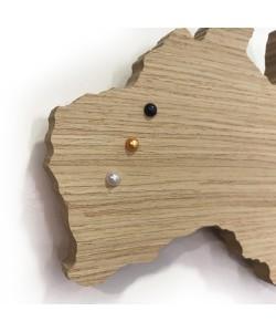PIN POINTS - parelwit voor houten wereldkaart