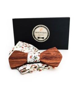 Hoentjen, Houten vlinderstrik - Palissander + gemêleerd pochet