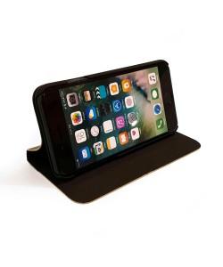 Houten design flip case, iPhone 8 – Bamboe met bruin leer