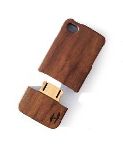 Houten hoesje, iPhone 4 / 4S - donker notenhout