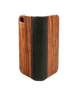 Houten design flip case, iPhone 4 / 4S – palissander en leer