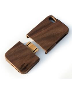 Houten hoesje, iPhone SE - donker notenhout