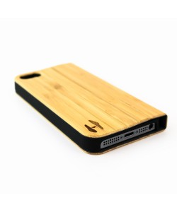 Houten design flip case, iPhone SE – Bamboe