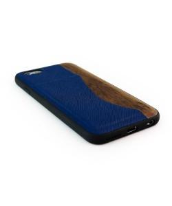 Houten TPU case, iPhone 6 / 6s - Padouk met pasjeshouder blauw