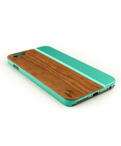 Hout met metaal design hoesje iPhone 6 Plus / 6s Plus-  kersenhout, aquamarine