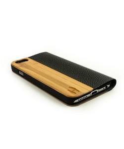 Houten design flip case, iPhone 6 / 6S– bamboe en bruin leer