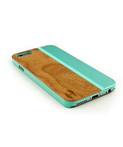 Hout met metaal design hoesje iPhone 6 - kersenhout, aquamarine