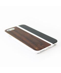 Hout met metaal design hoesje iPhone 6 / 6S - padouk & zwart metaal