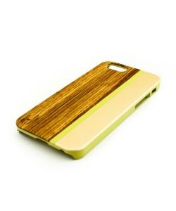 Hout met metaal design hardcase hoesje iPhone 6 / 6S: zebranohout, champagne