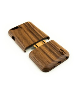 Houten hoesje, iPhone 6 / 6S- donker notenhout (ronde afloop)