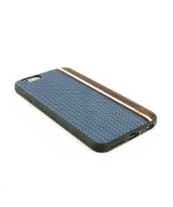 Houten TPU case, iPhone 6 / 6s - Padouk, esdoorn en blauw leer