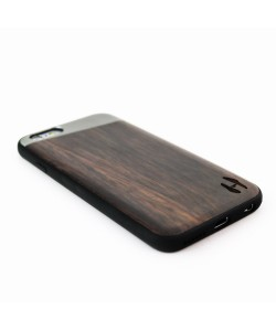 Houten TPU case, iPhone 6 / 6s - Padouk &  grey metal