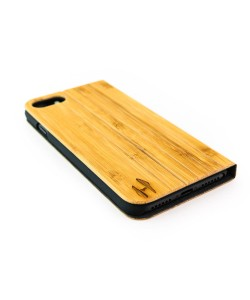 Houten design flip case, iPhone 7 – Bamboe