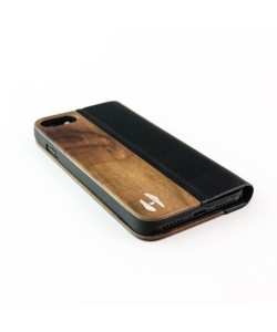 Houten design flip case, iPhone 8 – Notenhout en leer