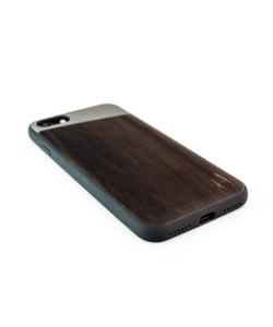 Houten TPU case, iPhone 7 - Padouk en grijs metaal schuin