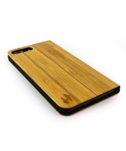 Houten design flip case, iPhone 8 plus – Bamboe