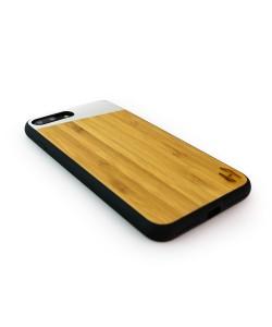 Houten TPU case, iPhone 8 plus - Bamboe en grijs metaal schuin