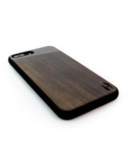 Houten TPU case, iPhone 8 plus - Padouk en grijs metaal schuin