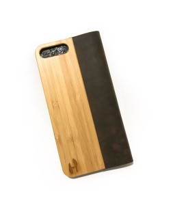 Houten design flip case, iPhone 8 plus – Bamboe met leer
