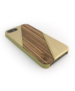 Houten hardcase  iPhone 5/ 5S - Zebranohout, aluminium champagne
