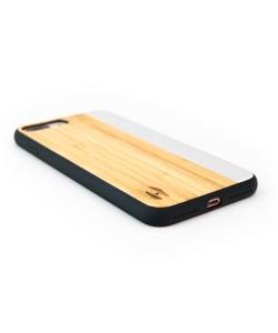 Houten TPU case, iPhone 7 plus - Bamboe en grijs metaal