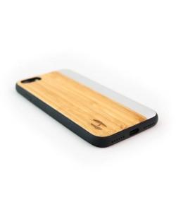 Houten TPU case, iPhone 7 - Bamboe en grijs metaal