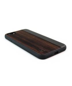 Houten TPU case, iPhone 7 - Padouk en grijs metaal