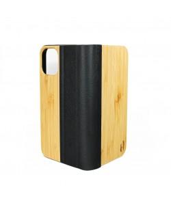 Houten design flip case, iPhone 12 pro – Bamboe met zwart leer