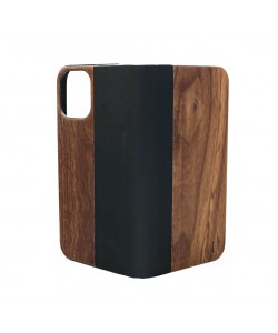Houten design flip case, iPhone 12 pro max – Noten met zwart leer