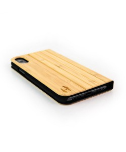 Houten design flip case, iPhone X / XS – Bamboe