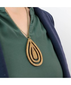 Houten ketting, ovaal vorm kakigroen