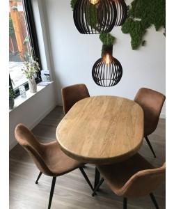 kleine ovale eetkamer tafel van eikenhout