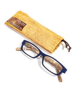 Leesbril hout-look blauw, Hoentjen Creatie