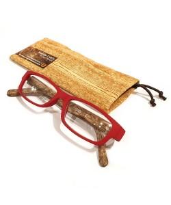Leesbril hout-look rood, Hoentjen Creatie
