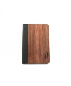 Houten iPad mini bookcase - Palissander en zwart leer