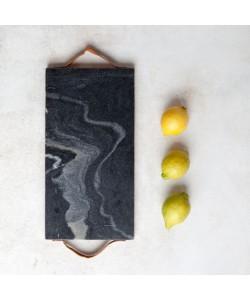 Houten/Marmeren Snijblok Grijs/Zwart