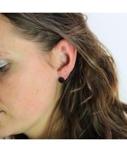 Houten oorbellen, knopje palissander