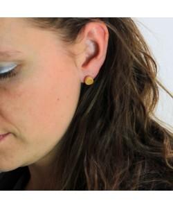 Houten oorbellen, knopje esdoorn
