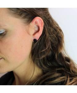 Houten oorbellen, knopje ebben