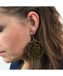 Houten oorbellen, roos kakigroen groot