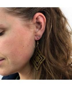Houten oorbellen, ruit bruin groot