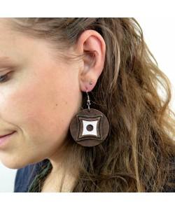 Houten oorbellen, notenhout glitter klein